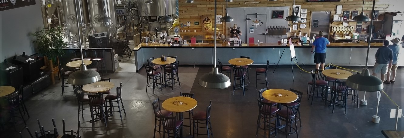 Birds eye view of inside Heretic Taproom