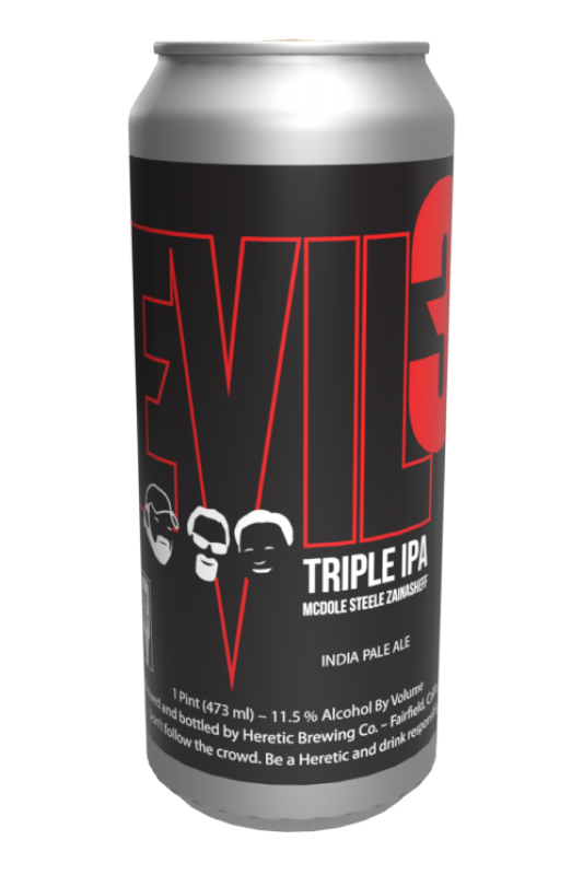 Evil 3 triple IPA Beer Can linked to Beer info Page